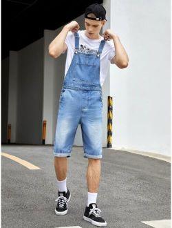 Men Pocket Front Denim Overall Shorts