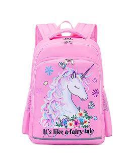 Kids Backpack Girls School Backpack Unicorn Preschool Kindergarten BookBag with Chest clip (Tie Dye headband unicorn)