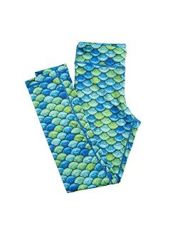Girls And Kids Mermaid Athletic Leggings For Running And Swimming