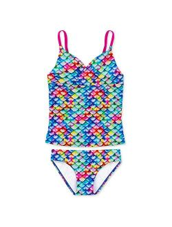 Mermaid Scale Coordinating Swimwear For Girls, Tankini Set, Top And Bottom Included, Mermaid Swimsuit For Girls