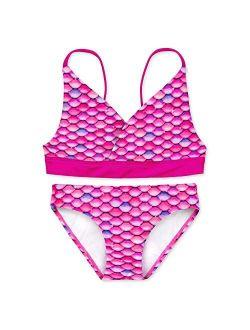 Mermaid Scale Coordinating Swimwear For Girls, Bikini Set, Top And Bottom Included, Mermaid Swimsuit For Girls