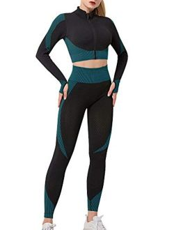 Women's Workout Set 3 Piece Tracksuit Seamless Sports Bra with Yoga Leggings with Zipper Crop Top Yoga Activewear Set