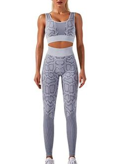 Women's Workout Outfit 2 Pieces Seamless Yoga Leggings with Sports Bra Snake Pattern Gym Clothes Set Sportswear Yoga Suit