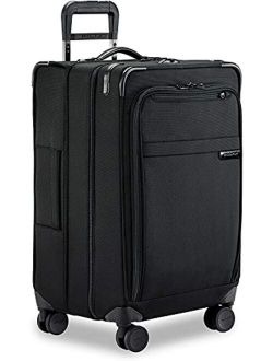 Baseline-softside Cx Expandable Medium Checked Spinner Trunk, Black, 25-inch