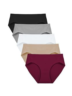 No Show Underwear For Women Seamless High Cut Briefs Mid-waist Soft No Panty Lines,pack Of 5