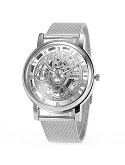 Men's Watches With Skeleton Face Wrist Watch For Men Silver Mesh Stainless Steel Band Quartz