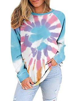 Women's Sweatshirts Casual Color Block Tie Dye Long Sleeve Loose Pullover Tunic Tops