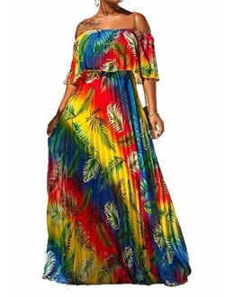 Womens Sexy Off Shoulder Ruffle Color Block Irregular Hem Boho Chiffon Maxi Dress