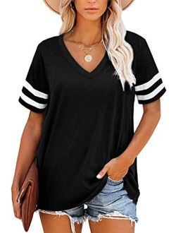 Women's T Shirts V Neck Short Sleeve Tops Summer Casual Loose Fit Tunic Top