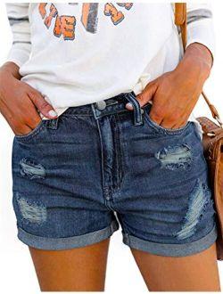 Denim Shorts For Women Mid Rise Ripped Jean Shorts Stretchy Folded Hem Hot Short Jeans