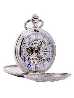 Silver Double Cover Roman Numerals Dial Skeleton Mens Women Pocket Watch