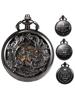 Personalized Engraving Mens Antique Mechanical Pocket Watch Black Lucky Dragon & Phoenix Retro Skeleton Dial Double Cover With Chain