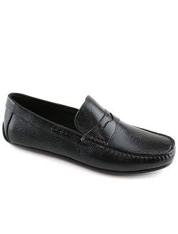 MJNY Mens Casual Comfortable Genuine Leather Lightweight Driving Moccasins Classic Fashion Penny Loafer Slip On Breathable Driving Loafer