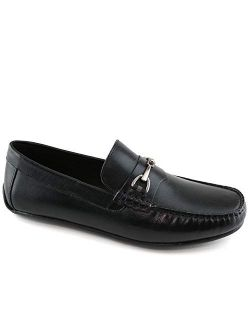 MJNY Mens Casual Comfortable Genuine Leather Lightweight Driving Moccasins Classic Fashion Buckle Loafer Slip On Breathable Driving Loafer