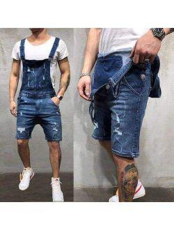 Men Fashion Ripped Jeans Jumpsuit Shorts Summer Casual High Waist Distressed Denim Overalls for Man Slim Suspender Black Pants