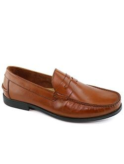 Mens Casual Comfortable Genuine Leather Lightweight Classic Fashion Dress Penny Loafer Slip On Breathable Driving Loafer