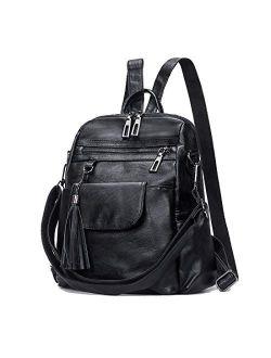 "Women Leather Backpack Purse Pu Leather Rucksack Convertible Handbag College Bookbag Shoulder Tote Bag With Tassel (brown), 14.9""x 5.9""x 11.8"""