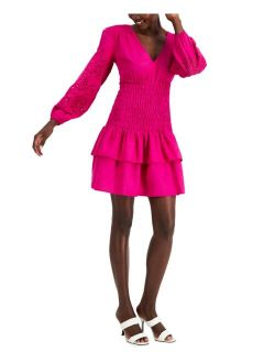 INC International Concepts V-Neck Smocked Dress, Created for Macy's