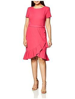 Women's Ruffle Hem Belted Dress