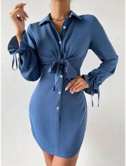 Knot Front Button Up Shirt Dress