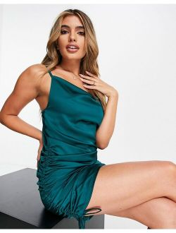 Rebellious Fashion satin cowl front ruched side mini dress in emerald green