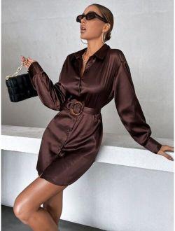 Drop Shoulder Belted Satin Shirt Dress