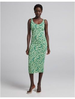 Bershka retro print midi dress in green