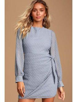 Much Love Light Blue Swiss Dot Long Sleeve Tie-Front Mini Dress