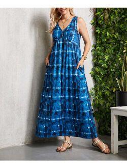 Suzanne Betro Dresses Blue & White Tie-Dye V-Neck Sleeveless Pocket Maxi Dress - Women & Plus