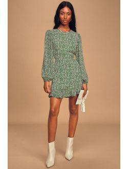 Blooming Darlin' Green Floral Print Ruffled Mini Dress