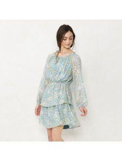 Women's LC Lauren Conrad Long Sleeve Mini Peasant Dress