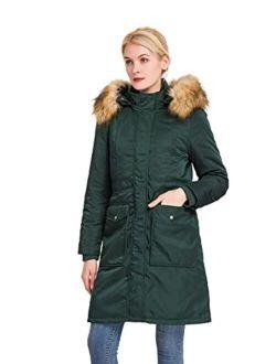 Women's Vegan Down Hooded Long Jacket,waterproof Thickened Winter Coat W/ Faux Fur, Full Zip Warm Puffer Parka