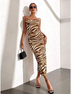 Zebra Striped Bodycon Dress