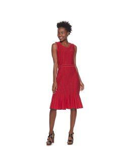 Women's Nina Leonard Striped Vertical Wave Sweater Dress