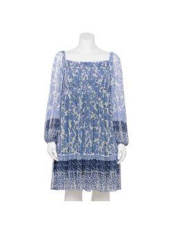 Plus Size Taylor Dress Printed Mesh Long Sleeve Dress