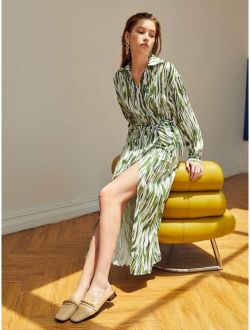Allover Print Knot Side Wrap Dress