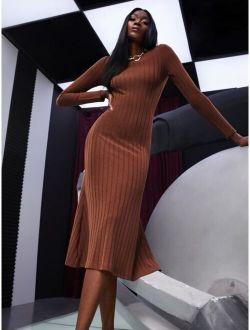 Ribbed Knit Twist Back Dress