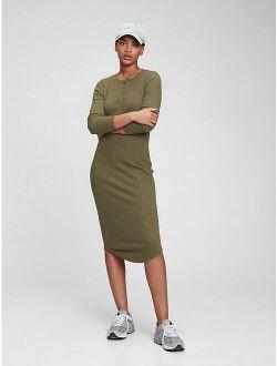 Henley Ribbed Midi T-Shirt Dress