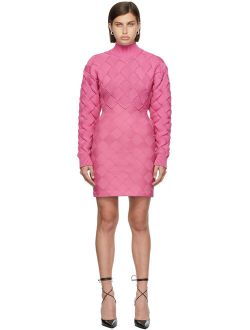 Herve Leger Pink Chunky Weave Bandage Mini Dress