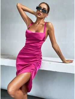 Tie Backless Split Hem Ruched Satin Cami Dress