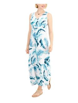 Charter Club Cotton Fern-Print Maxi Dress, Created for Macy's