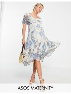 Maternity floral printed midi dress with pleated cup detail and drape sleeve