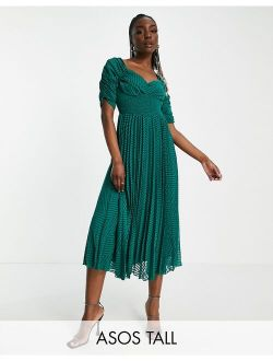 Tall ruched front pleated midi dress with shirred waist in chevron textured in forest green