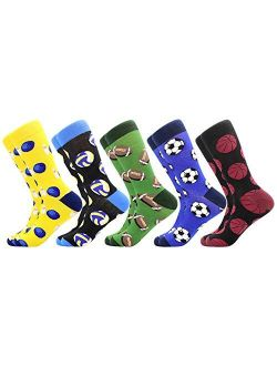 Men's Funny Dress Socks,Fun Colorful Socks,Crazy Novelty Funky Cool Cute Design Printed Crew Socks,Casual Socks