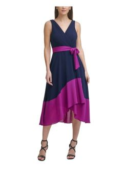 Colorblocked Faux-Wrap Dress