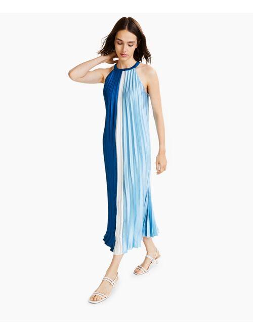 Alfani Colorblocked Pleated Midi Dress, Created for Macy's