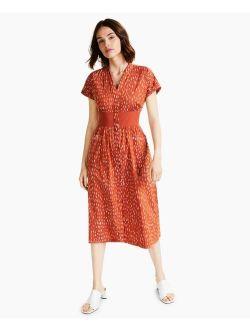 Alfani Printed Tie-Waist Midi Dress, Created for Macy's