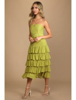 Catch a Cruise Lime Green Strapless Belted Tiered Midi Dress