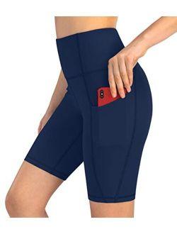 "Women's 8"" Biker Shorts With 3 Pockets, High Waisted Tummy Control Yoga Workout Shorts"