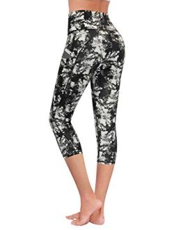 High Waisted Pattern Leggings With Pockets, Tummy Control 4 Way Stretch Women Yoga Pants